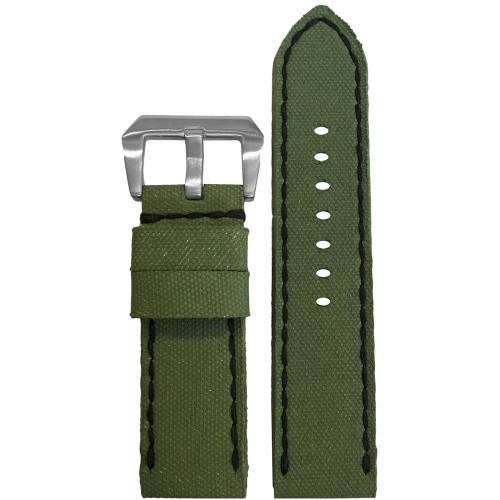 24mm Gunny Olive Canvas Watch Strap with Black Stitching for Panerai | Panatime.com
