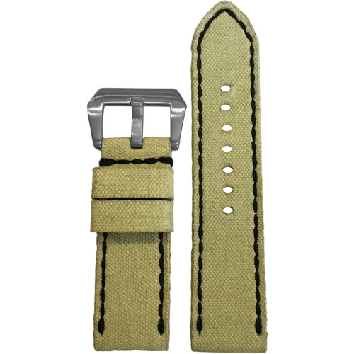 24mm Gunny Sand Canvas Watch Strap with Black Stitching for Panerai | Panatime.com