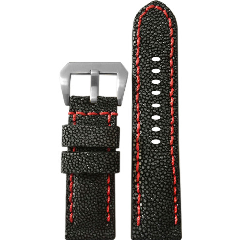 24mm Panatime Prestige Black Handmade Genuine Stingray Watch Strap with Red Stitching | Panatime.com