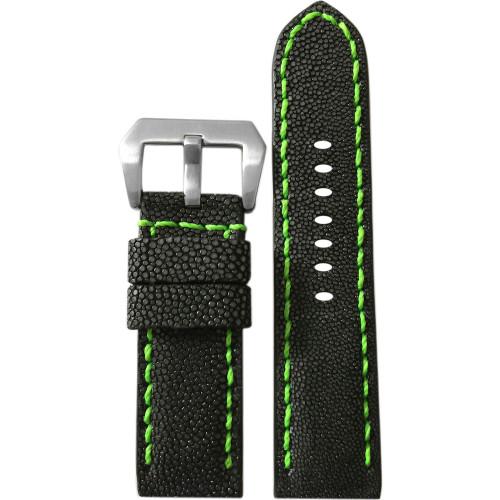 24mm Panatime Prestige Black Handmade Genuine Stingray Watch Strap with Green Stitching | Panatime.com