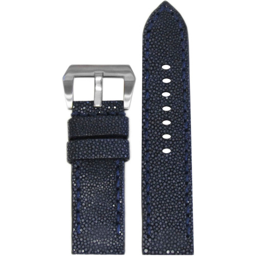 24mm Panatime Prestige Navy Handmade Genuine Stingray Watch Strap with Match Stitching | Panatime.com