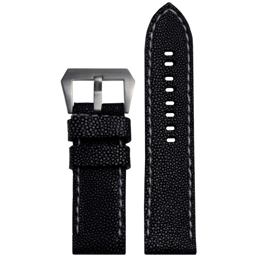 24mm Panatime Prestige Black Handmade Genuine Stingray Watch Strap with White Stitching | Panatime.com