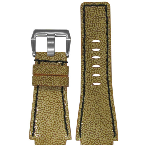 24mm Panatime Prestige Light Brown Handmade Genuine Stingray Watch Strap with Black Stitching for B&R | Panatime.com