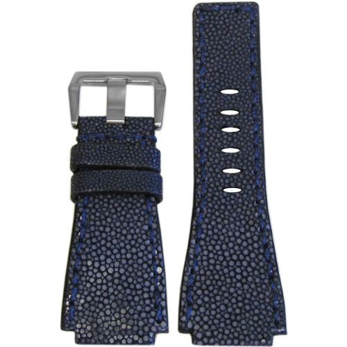24mm Panatime Prestige Navy Handmade Genuine Stingray Watch Strap with Match Stitching for B&R | Panatime.com
