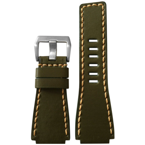 24mm Panatime Prestige Olive Handmade Genuine Vintage Leather Watch Strap with Tan Stitching for B&R | Panatime.com