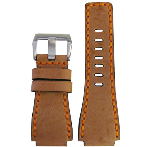 24mm Panatime Prestige Sand Handmade Genuine Vintage Leather Watch Strap with Orange Stitching for B&R | Panatime.com