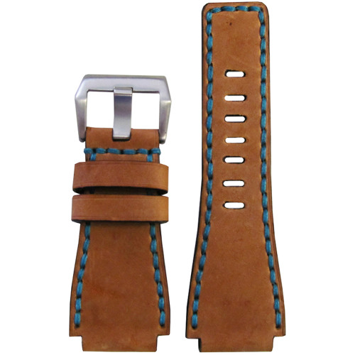 24mm Panatime Prestige Sand Handmade Genuine Vintage Leather Watch Strap with Blue Stitching for B&R | Panatime.com