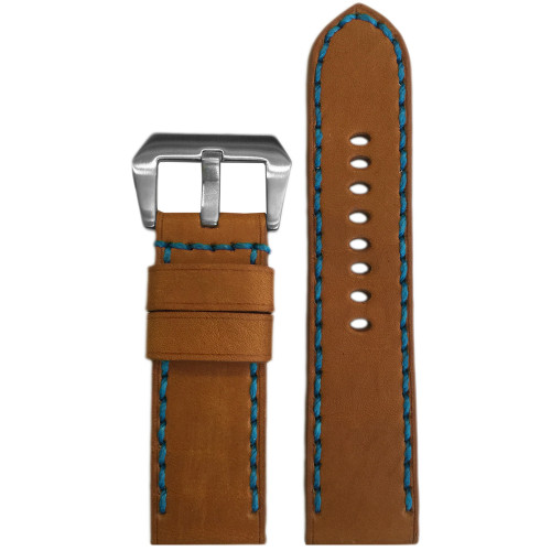 24mm Panatime Prestige Cognac Handmade Genuine Horween Leather Watch Strap with Blue Stitching | Panatime.com