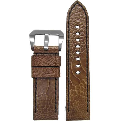 24mm Panatime Prestige Tan Handmade Genuine Ostrich Watch Strap with Black Stitching | Panatime.com
