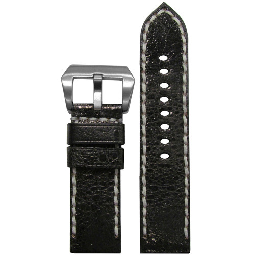 24mm Panatime Prestige Black Handmade Genuine Toad Watch Strap with White Stitching | Panatime.com