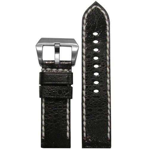 24mm Panatime Prestige Black Handmade Genuine Toad Watch Strap with White Stitching | Panatime.com