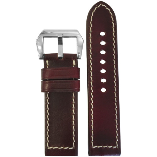 22mm Dark Burgundy Chromexcel Vintage Leather Watch Strap | Panatime.com