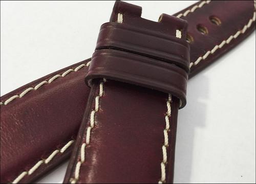 24mm Dark Burgundy Chromexcel Vintage Leather Watch Strap for Panerai Deploy Clasp (24x22) | Panatime.com