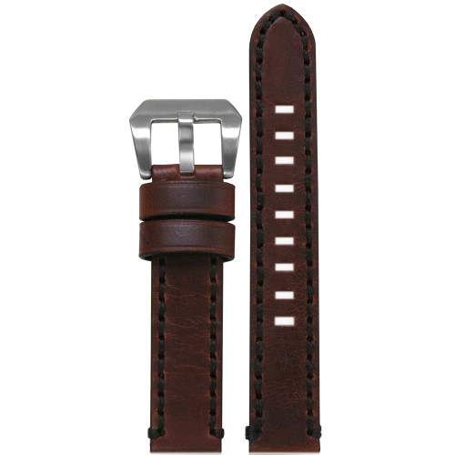 18mm Vintage Tobacco Genuine Leather Watch Strap with Black Stitching | Panatime.com