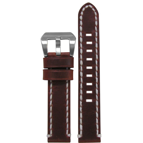 20mm Vintage Tobacco Genuine Leather Watch Strap with White Stitching | Panatime.com