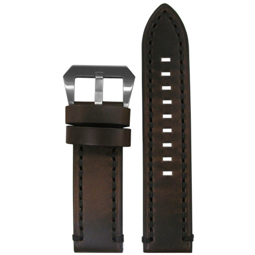 24mm Dark Brown  Vintage Tobacco Genuine Leather Watch Strap with Black Stitching | Panatime.com