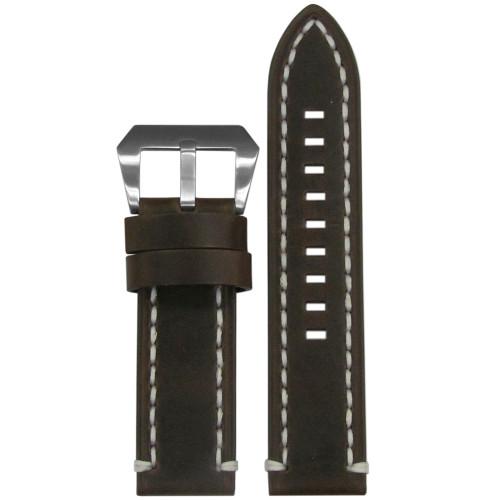 26mm Dark Brown  Vintage Tobacco Genuine Leather Watch Strap with White Stitching | Panatime.com