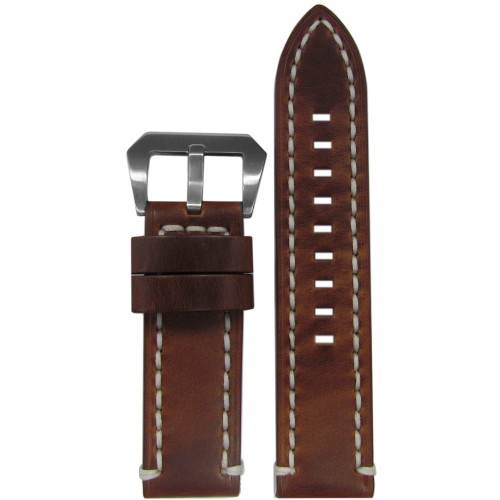 24mm Vintage Tobacco Genuine Leather Watch Strap with White Stitching | Panatime.com