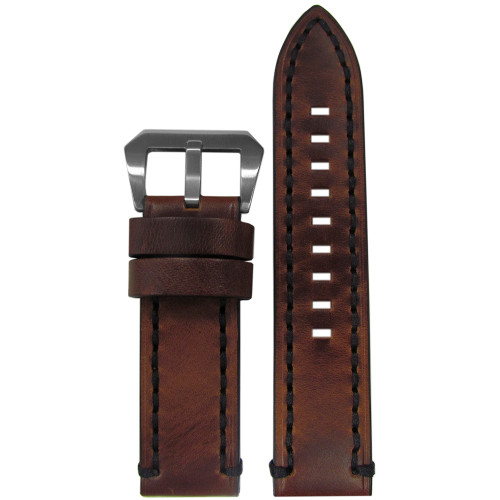 24mm XL Vintage Tobacco Genuine Leather Watch Strap with Black Stitching | Panatime.com