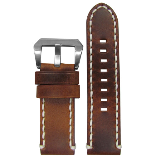 24mm Short Vintage Tobacco Genuine Leather Watch Strap with White Stitching | Panatime.com