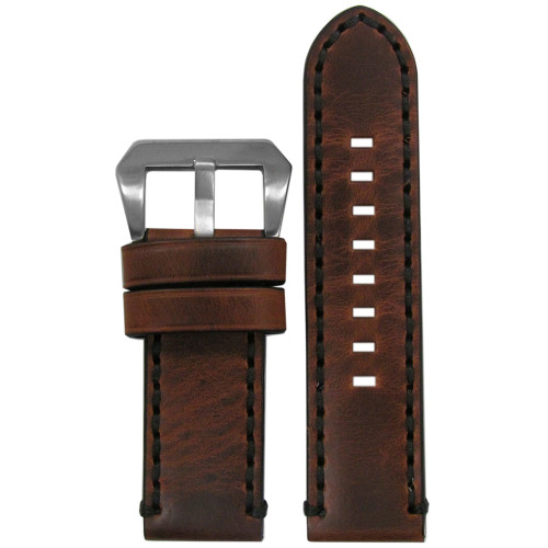 24mm Short Vintage Tobacco Genuine Leather Watch Strap with Black Stitching | Panatime.com