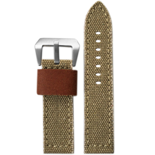 24mm XL Khaki Vintage Canvas Watch Strap with Contrast Stitching (Military Style) | Panatime.com