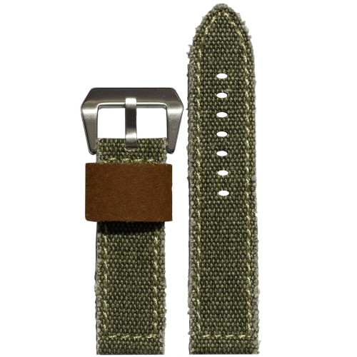 24mm Olive Vintage Canvas Watch Strap with Contrast Stitching (Military Style) | Panatime.com