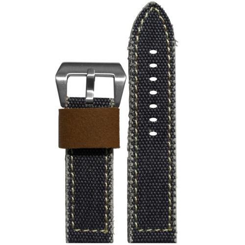 24mm XL Slate-Blue Vintage Canvas Watch Strap with Contrast Stitching (Military Style) | Panatime.com