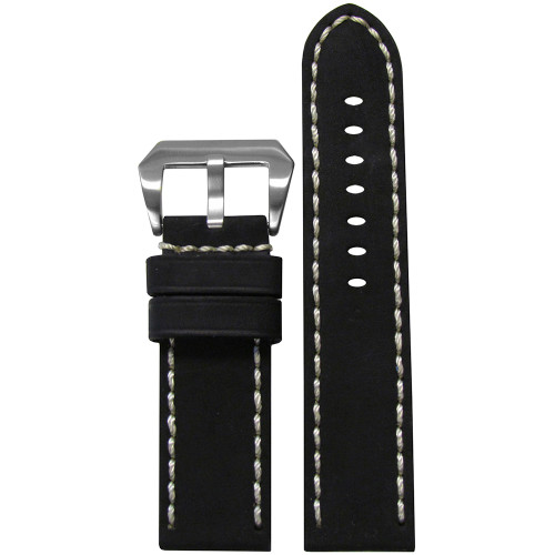 22mm Black Mustang 2 Genuine Leather Watch Strap with White Hand Stitching  | Panatime.com