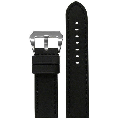 22mm Black Mustang 2 Genuine Leather Watch Strap with Black Hand Stitching  | Panatime.com