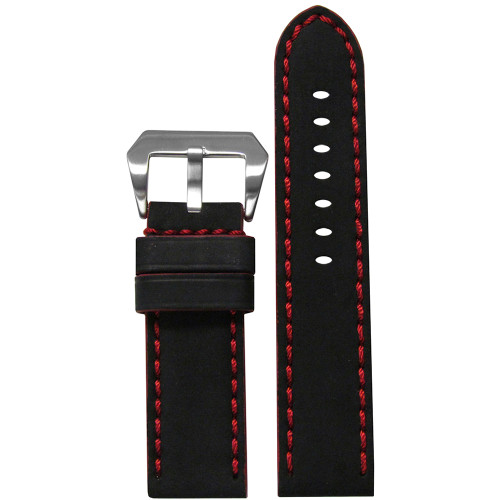 22mm Black Mustang 2 Genuine Leather Watch Strap with Red Hand Stitching  | Panatime.com