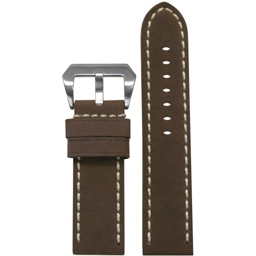 24mm Brown Mustang 2 Genuine Leather Watch Strap with White Hand Stitching  | Panatime.com
