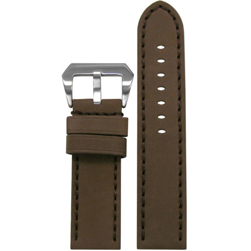22mm Brown Mustang 2 Genuine Leather Watch Strap with Brown Hand Stitching  | Panatime.com