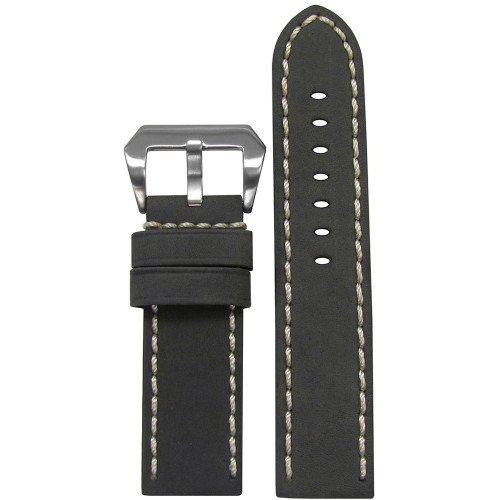 22mm Grey Mustang 2 Genuine Leather Watch Strap with White Hand Stitching  | Panatime.com