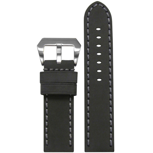 24mm Grey Mustang 2 Genuine Leather Watch Strap with Grey Hand Stitching  | Panatime.com