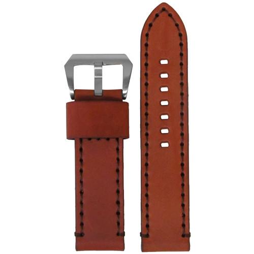 26mm Chestnut Bronco Vintage Leather Watch Strap with Dark Brown Stitching | Panatime.com
