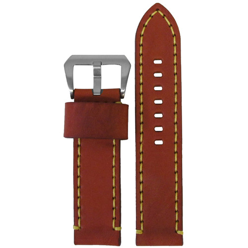 22mm Chestnut Bronco Vintage Leather Watch Strap with Yellow Stitching | Panatime.com