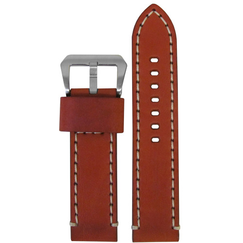 20mm Chestnut Bronco Vintage Leather Watch Strap with White Stitching | Panatime.com