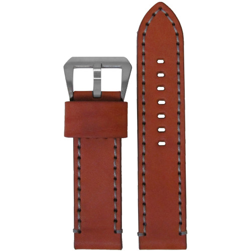 26mm Chestnut Bronco Vintage Leather Watch Strap with Grey Stitching | Panatime.com