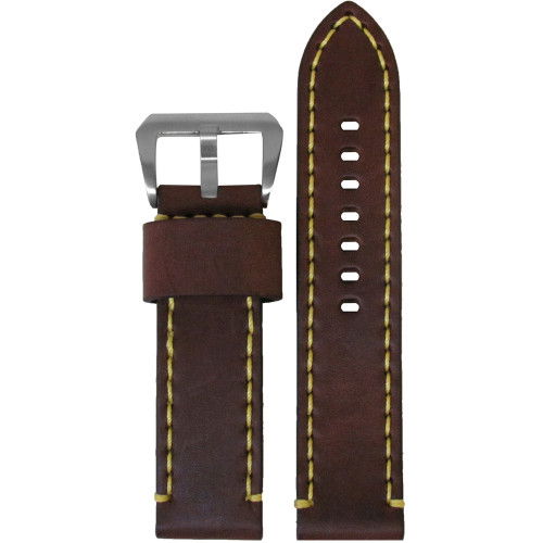 22mm Brown Bronco Vintage Leather Watch Strap with Yellow Stitching | Panatime.com