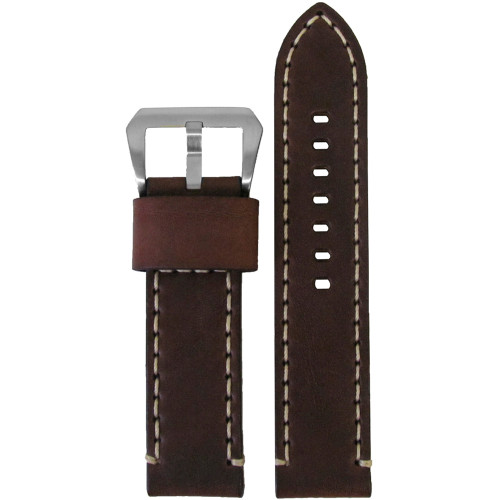 20mm Brown Bronco Vintage Leather Watch Strap with White Stitching | Panatime.com