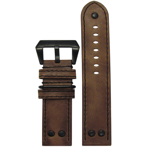 26mm XL Distressed Brown Genuine Vintage Leather MB-1 Pilot Watch Strap | Panatime.com