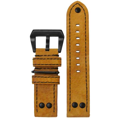24mm XL Golden Genuine Vintage Leather MB-1 Pilot Watch Strap   Panatime.com