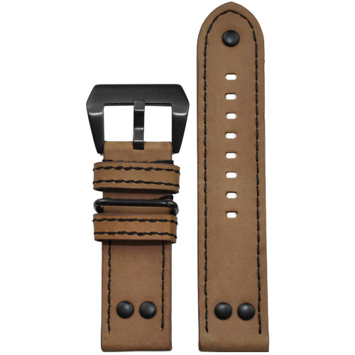26mm Khaki Genuine Vintage Leather MB-1 Pilot Watch Strap | Panatime.com
