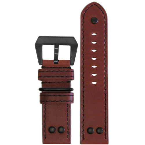 24mm Chestnut Genuine Vintage Leather MB-1 Pilot Watch Strap | Panatime.com