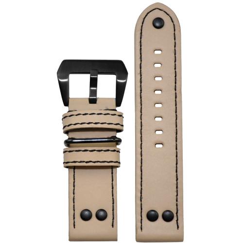 24mm Natural Beige Genuine Vintage Leather MB-1 Pilot Watch Strap | Panatime.com