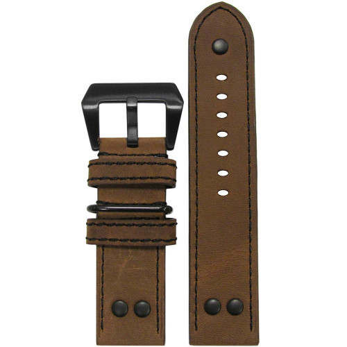 26mm Classic Brown Genuine Vintage Leather MB-1 Pilot Watch Strap | Panatime.com