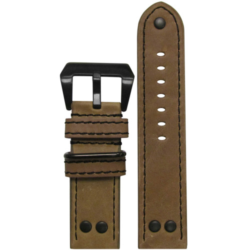 22mm Natural Genuine Vintage Leather MB-1 Pilot Watch Strap | Panatime.com