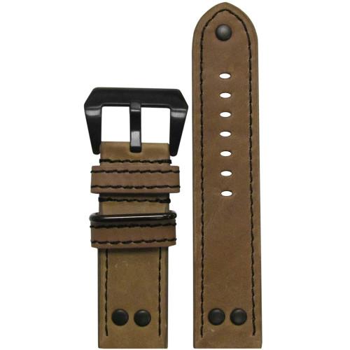 22mm Natural Genuine Vintage Leather MB-1 Pilot Watch Strap | Panatime.com