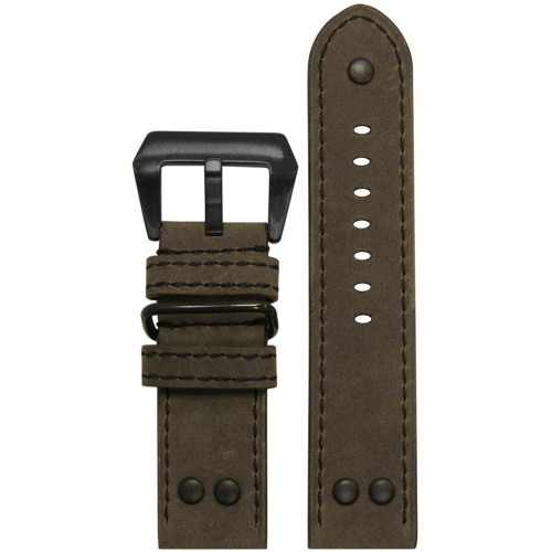 24mm Olive Genuine Vintage Leather MB-1 Pilot Watch Strap | Panatime.com